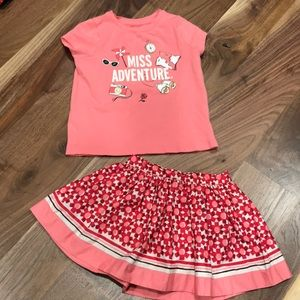 24 mo / 2T Kate Spade adventure tee and skort set
